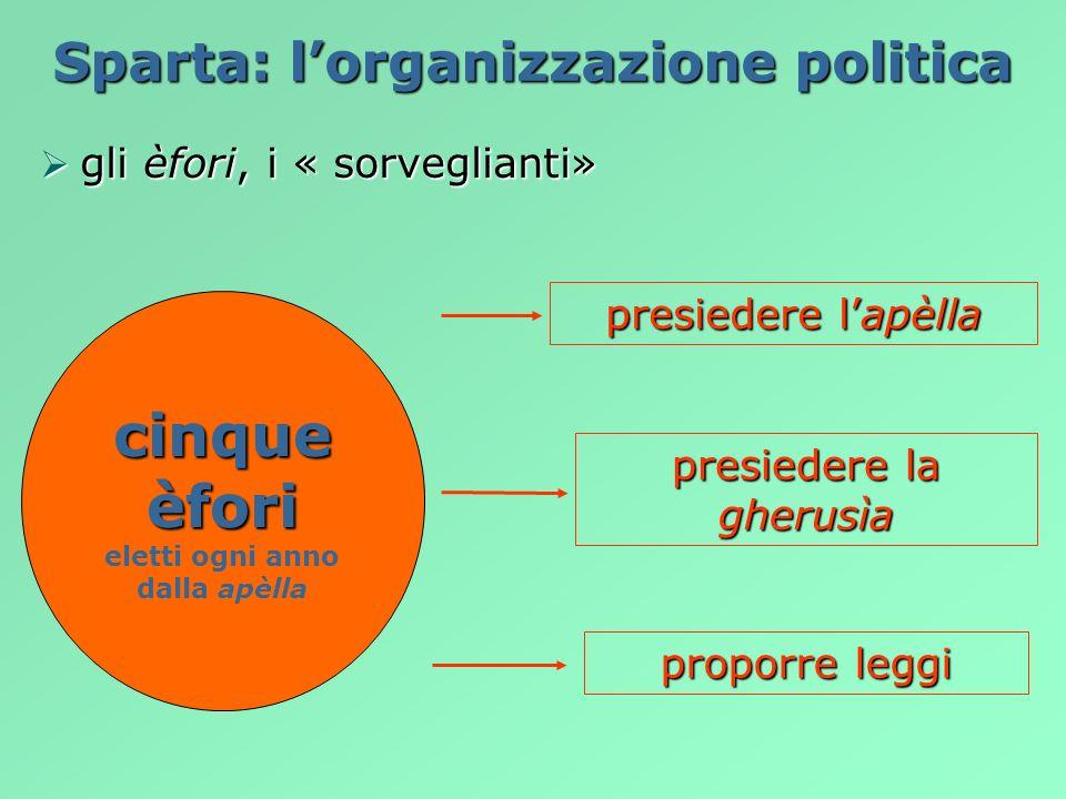 Sparta: lorganizzazione politica gli èfori, i « sorveglianti» gli èfori, i « sorveglianti» proporre leggi presiedere la gherusìa presiedere lapèlla ci