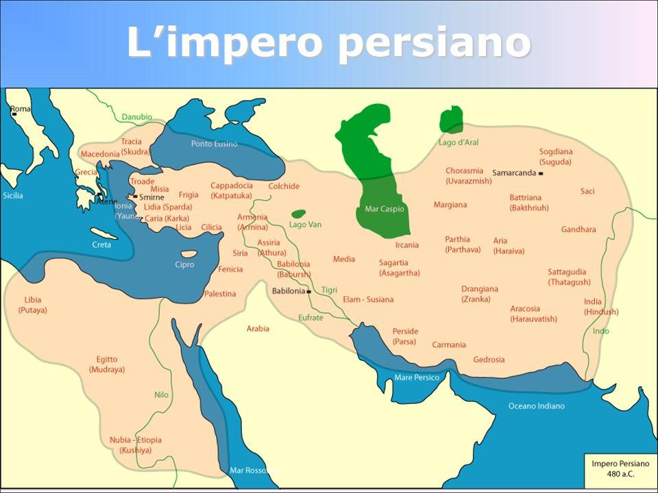 I Persiani: le satrapie cè un segretario che sorveglia il satrapo a nome del re, insieme ad un folto gruppo di ispettori la satrapia deve enormi tributi al Gran Re ci sono tre capitali: Susa, Ecbàtana e Persèpoli il Re ha un forte contingente militare di fedelissimi: i 10.000 cavalieri, chiamati gli Immortali