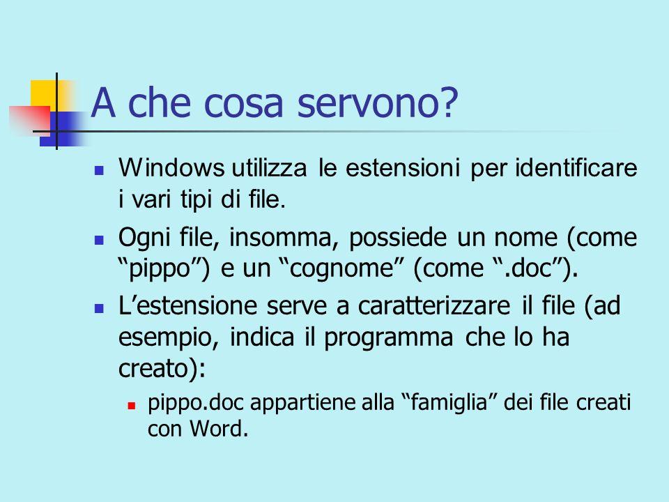 A che cosa servono. Windows utilizza le estensioni per identificare i vari tipi di file.
