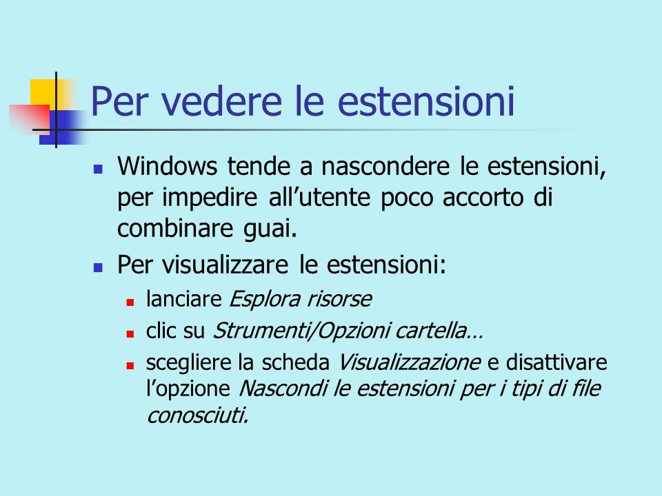 Le estensioni più comuni.docdocumento di Word.exeprogramma eseguibile.gifimmagine.htmlpagina web.jpgimmagine.mdbdatabase di Access.pptpresentazione di PowerPoint.txtdocumento di testo leggibile da ogni computer.xlscartella di Excel
