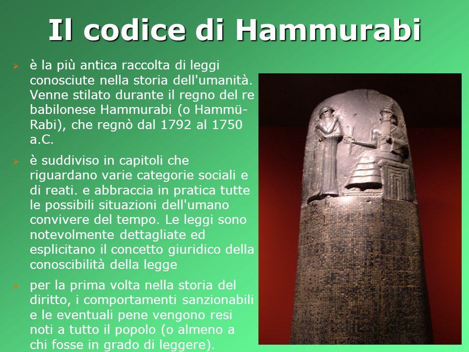 Il codice di Hammurabi è la più antica raccolta di leggi conosciute nella storia dell'umanità. Venne stilato durante il regno del re babilonese Hammur