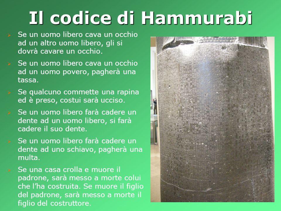 Il codice di Hammurabi Se un uomo libero cava un occhio ad un altro uomo libero, gli si dovrà cavare un occhio. Se un uomo libero cava un occhio ad un