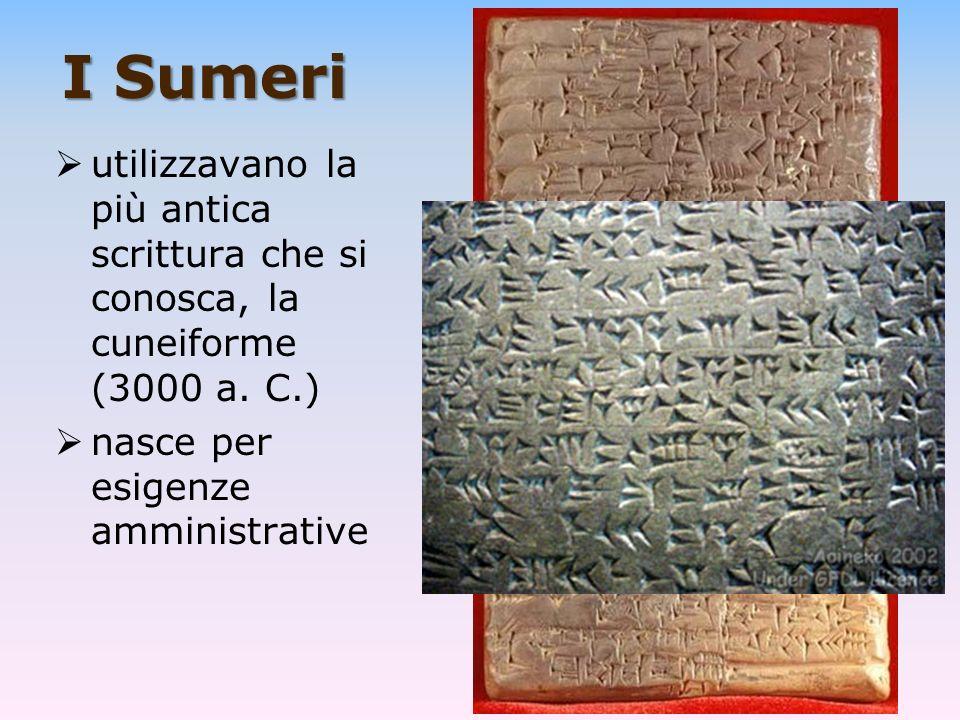 I Sumeri utilizzavano la più antica scrittura che si conosca, la cuneiforme (3000 a. C.) nasce per esigenze amministrative
