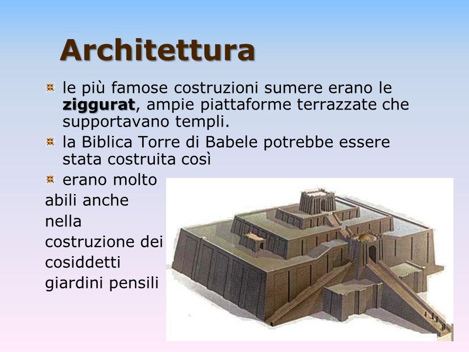 Architettura ziggurat le più famose costruzioni sumere erano le ziggurat, ampie piattaforme terrazzate che supportavano templi. la Biblica Torre di Ba