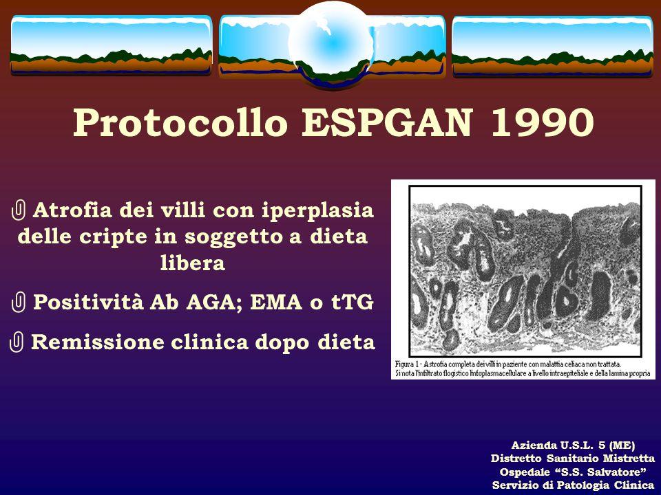 Azienda U.S.L. 5 (ME) Distretto Sanitario Mistretta Ospedale S.S. Salvatore Servizio di Patologia Clinica Protocollo ESPGAN 1990 Atrofia dei villi con