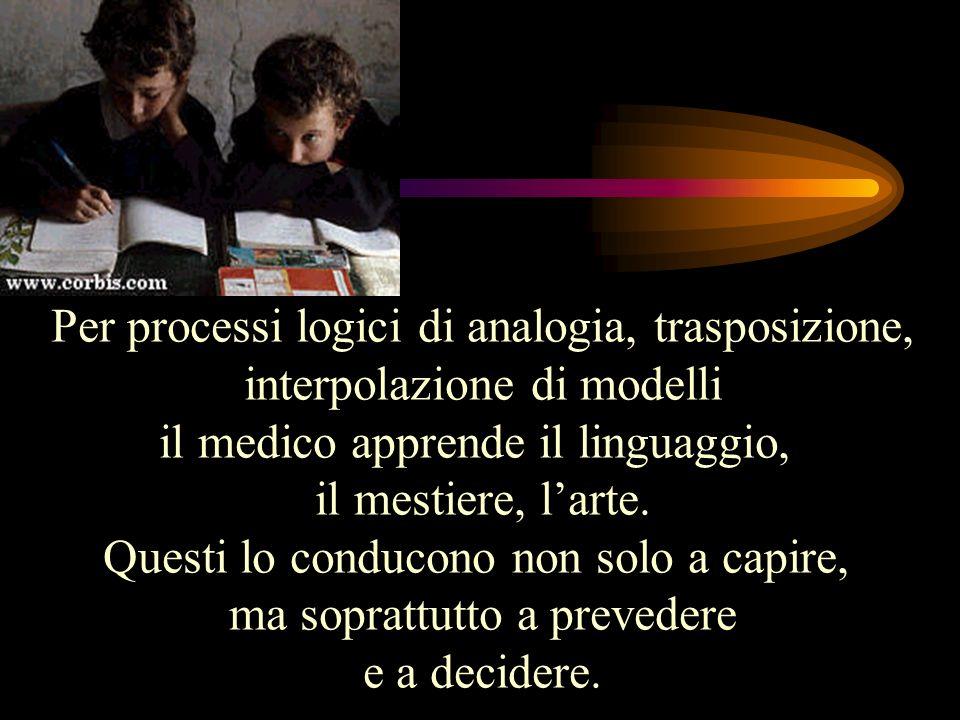 Per processi logici di analogia, trasposizione, interpolazione di modelli il medico apprende il linguaggio, il mestiere, larte. Questi lo conducono no