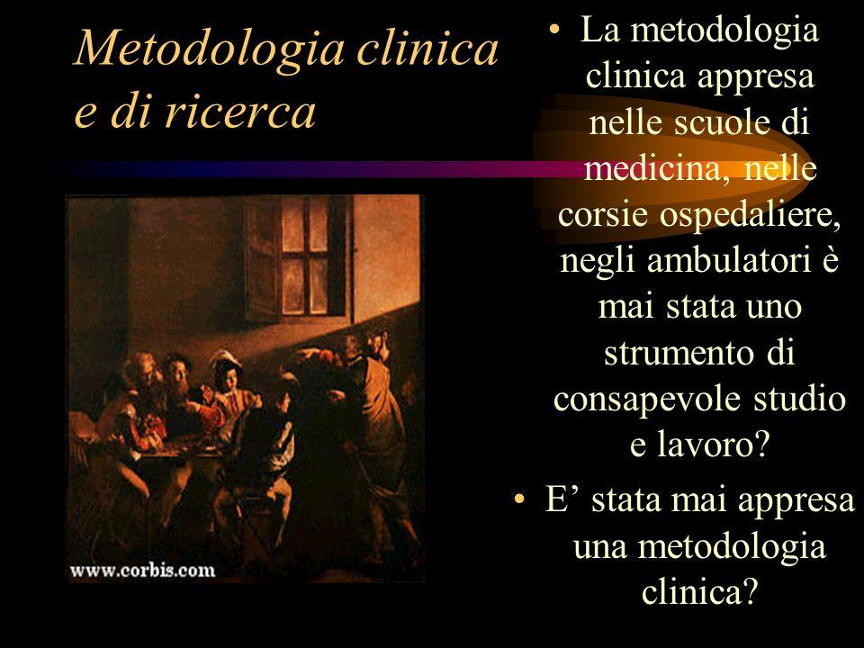 Metodologia clinica e di ricerca La metodologia clinica appresa nelle scuole di medicina, nelle corsie ospedaliere, negli ambulatori è mai stata uno strumento di consapevole studio e lavoro.