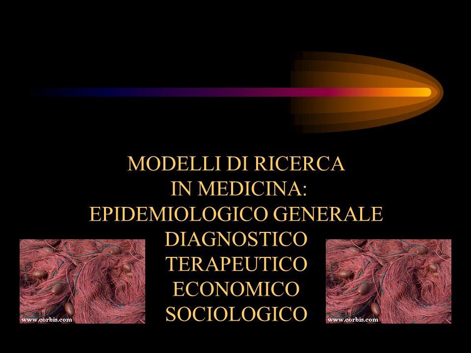MODELLI DI RICERCA IN MEDICINA: EPIDEMIOLOGICO GENERALE DIAGNOSTICO TERAPEUTICO ECONOMICO SOCIOLOGICO