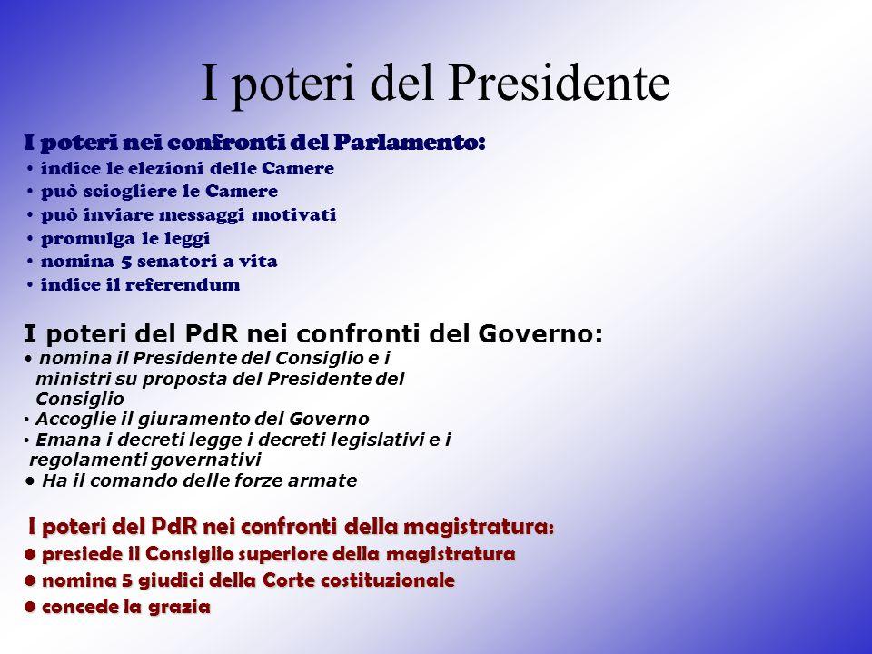 I poteri del Presidente I poteri nei confronti del Parlamento: indice le elezioni delle Camere può sciogliere le Camere può inviare messaggi motivati