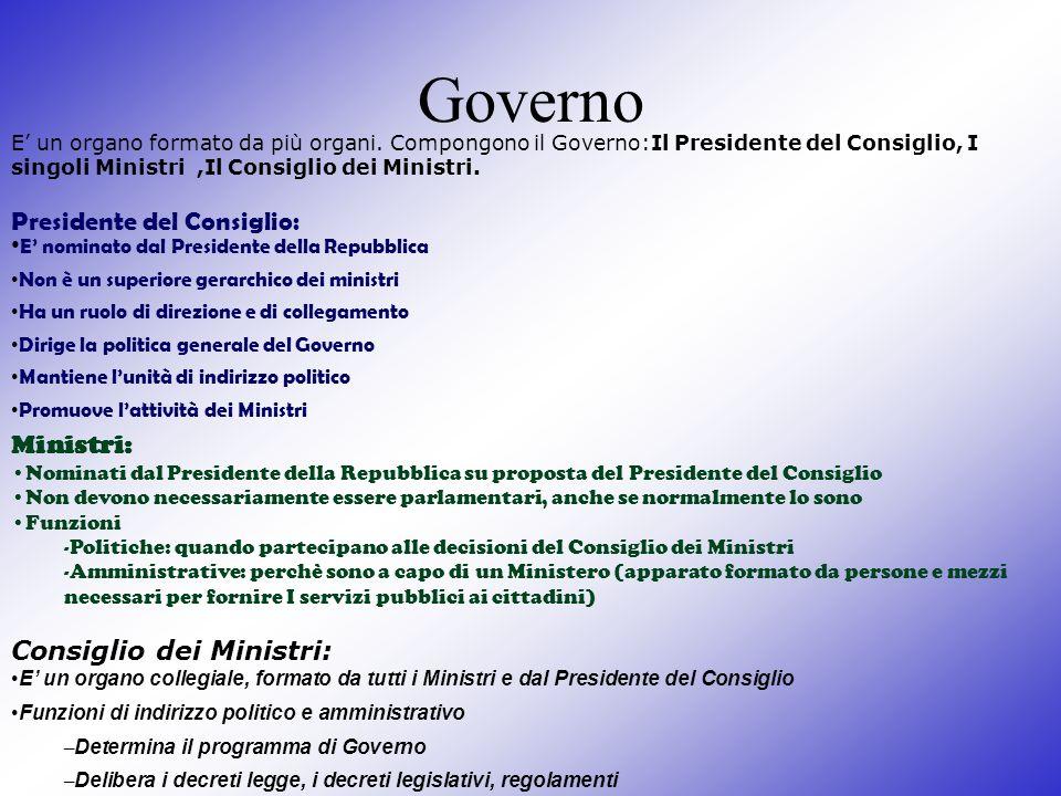 Governo E un organo formato da più organi. Compongono il Governo:Il Presidente del Consiglio, I singoli Ministri,Il Consiglio dei Ministri. Presidente