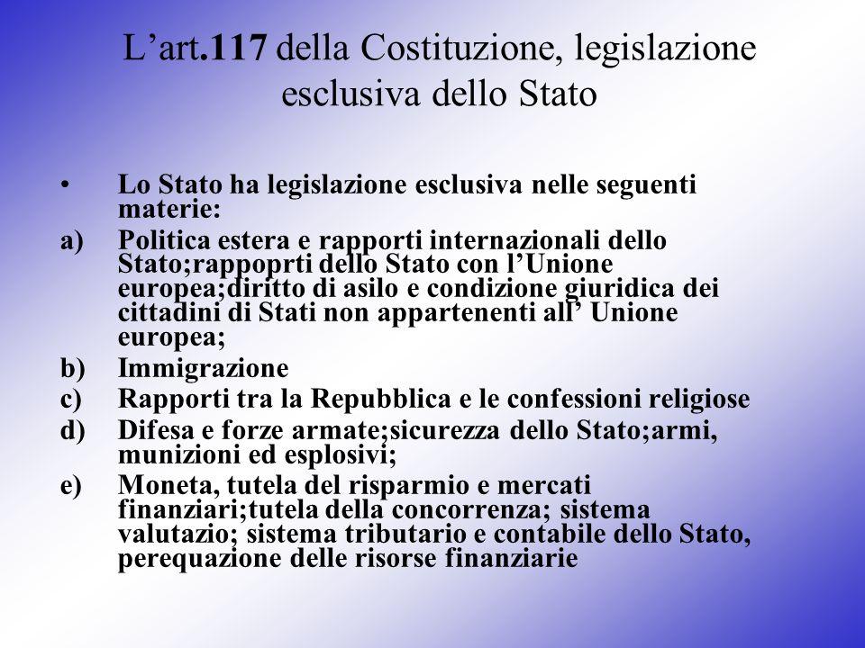 Lart.117 della Costituzione, legislazione esclusiva dello Stato Lo Stato ha legislazione esclusiva nelle seguenti materie: a)Politica estera e rapport