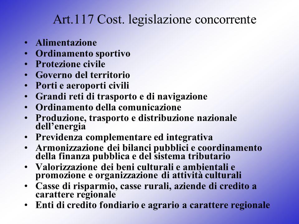 Art.117 Cost. legislazione concorrente Alimentazione Ordinamento sportivo Protezione civile Governo del territorio Porti e aeroporti civili Grandi ret