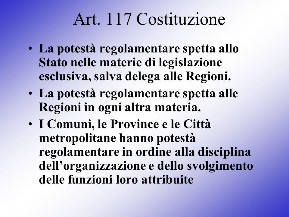Art. 117 Costituzione La potestà regolamentare spetta allo Stato nelle materie di legislazione esclusiva, salva delega alle Regioni. La potestà regola