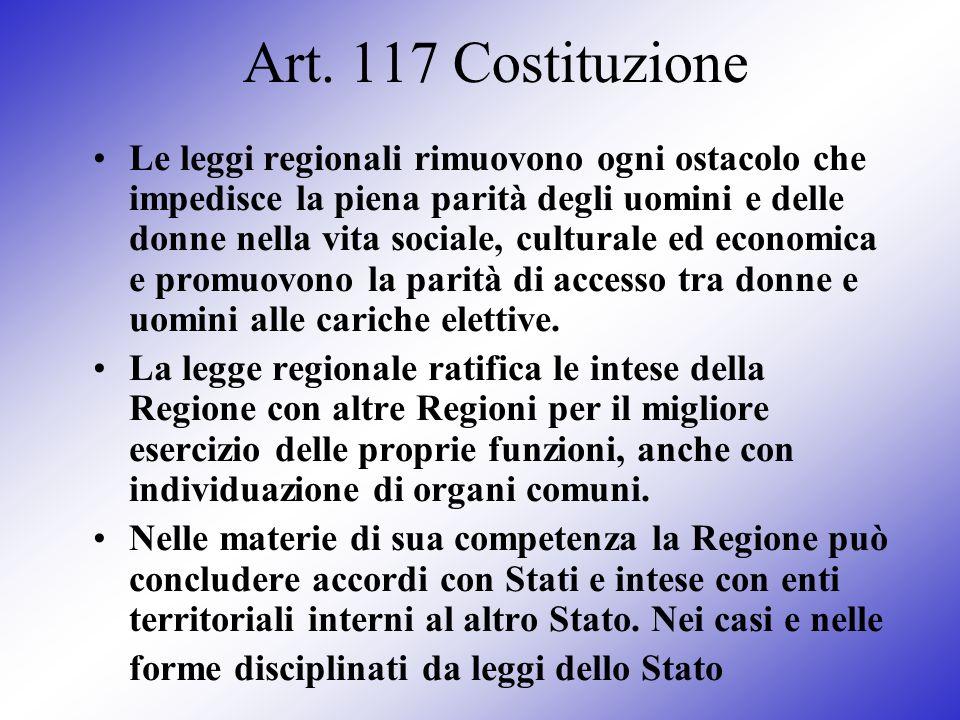 Art. 117 Costituzione Le leggi regionali rimuovono ogni ostacolo che impedisce la piena parità degli uomini e delle donne nella vita sociale, cultural