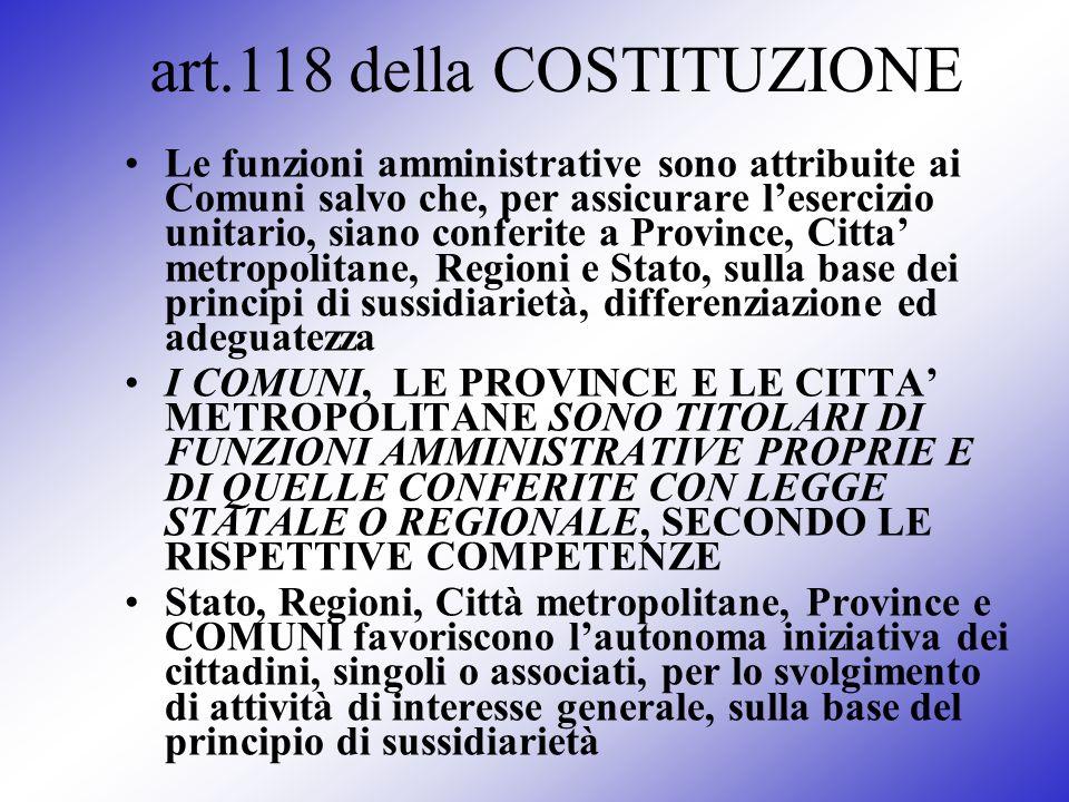 art.118 della COSTITUZIONE Le funzioni amministrative sono attribuite ai Comuni salvo che, per assicurare lesercizio unitario, siano conferite a Provi