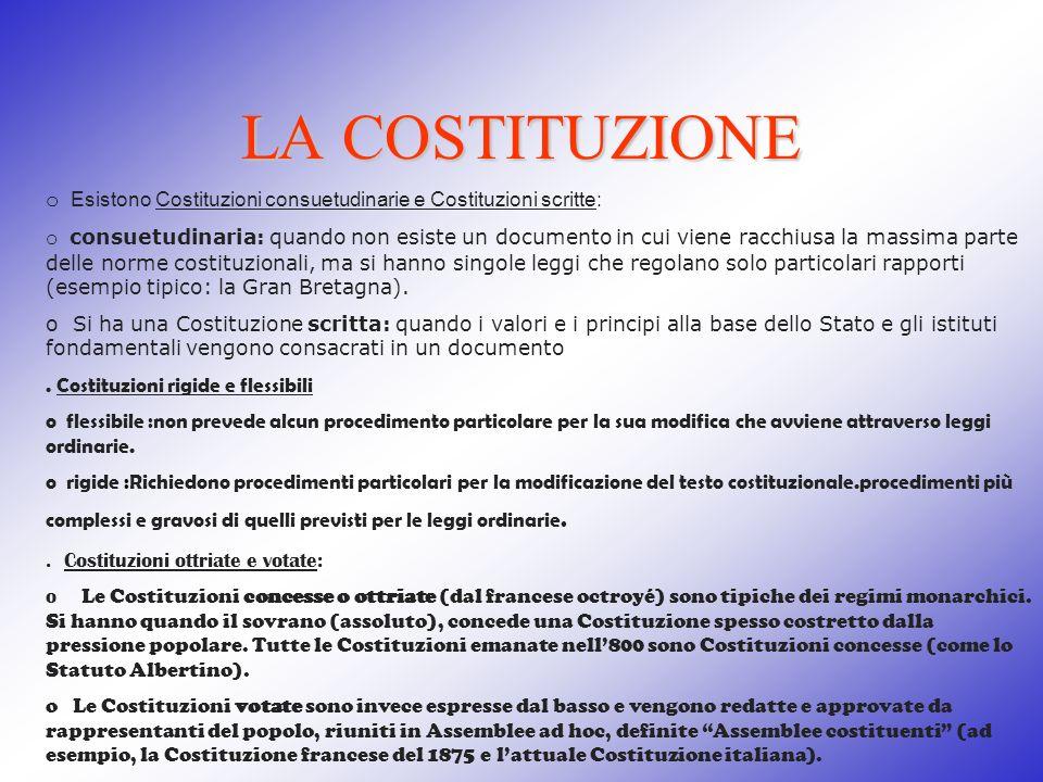 LA COSTITUZIONE o Esistono Costituzioni consuetudinarie e Costituzioni scritte: o consuetudinaria: quando non esiste un documento in cui viene racchiu