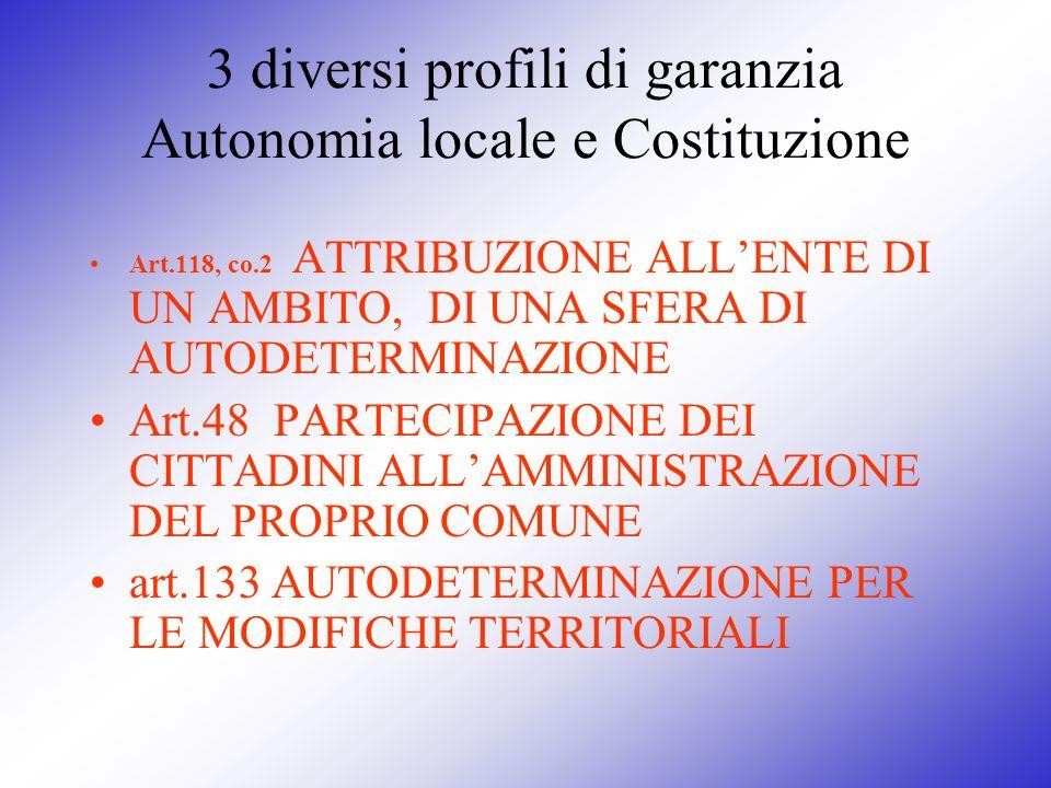 3 diversi profili di garanzia Autonomia locale e Costituzione Art.118, co.2 ATTRIBUZIONE ALLENTE DI UN AMBITO, DI UNA SFERA DI AUTODETERMINAZIONE Art.