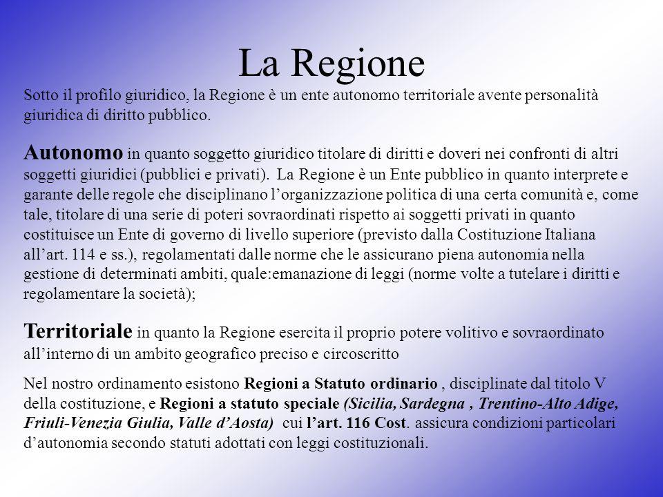 La Regione Sotto il profilo giuridico, la Regione è un ente autonomo territoriale avente personalità giuridica di diritto pubblico. Autonomo in quanto