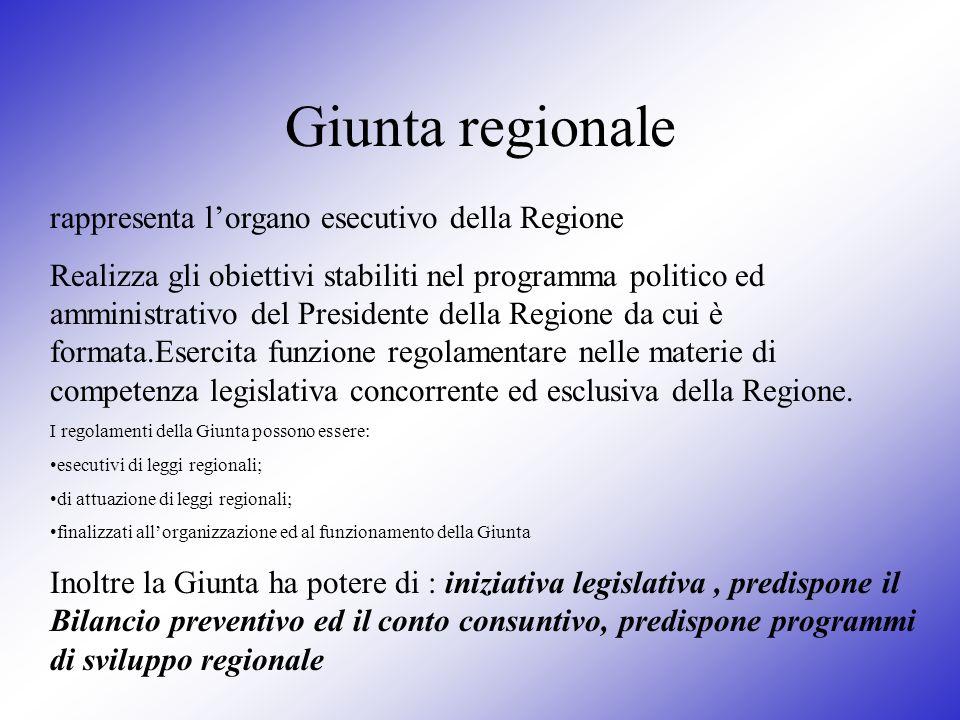 Giunta regionale rappresenta lorgano esecutivo della Regione Realizza gli obiettivi stabiliti nel programma politico ed amministrativo del Presidente