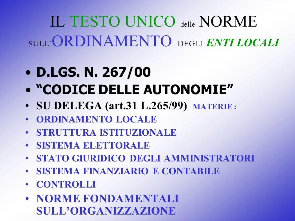 IL TESTO UNICO delle NORME SULL ORDINAMENTO DEGLI ENTI LOCALI D.LGS. N. 267/00 CODICE DELLE AUTONOMIE SU DELEGA (art.31 L.265/99) MATERIE : ORDINAMENT