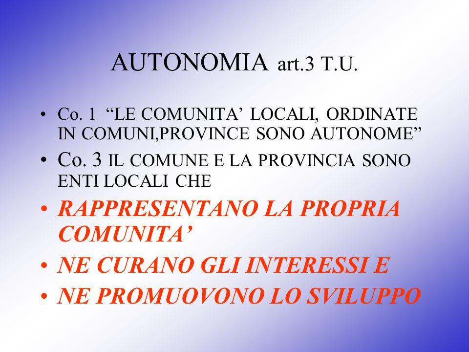AUTONOMIA art.3 T.U. Co. 1 LE COMUNITA LOCALI, ORDINATE IN COMUNI,PROVINCE SONO AUTONOME Co. 3 IL COMUNE E LA PROVINCIA SONO ENTI LOCALI CHE RAPPRESEN