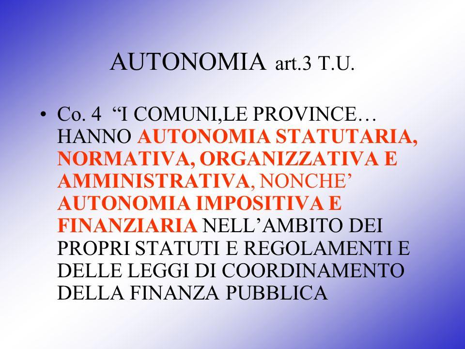 AUTONOMIA art.3 T.U. Co. 4 I COMUNI,LE PROVINCE… HANNO AUTONOMIA STATUTARIA, NORMATIVA, ORGANIZZATIVA E AMMINISTRATIVA, NONCHE AUTONOMIA IMPOSITIVA E