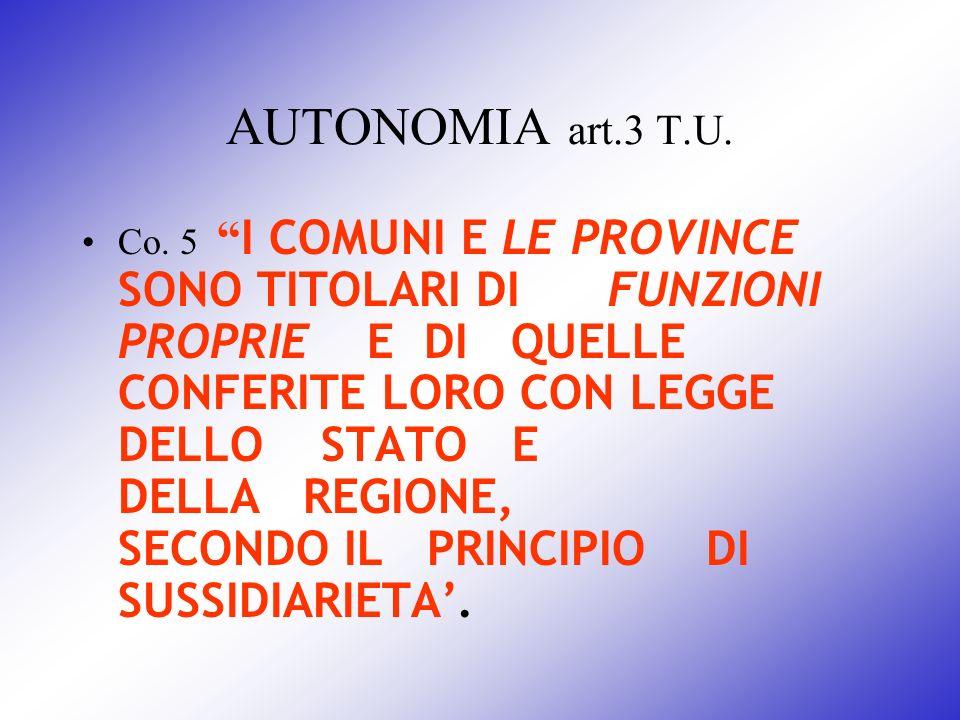 AUTONOMIA art.3 T.U. Co. 5 I COMUNI E LE PROVINCE SONO TITOLARI DI FUNZIONI PROPRIE E DI QUELLE CONFERITE LORO CON LEGGE DELLO STATO E DELLA REGIONE,
