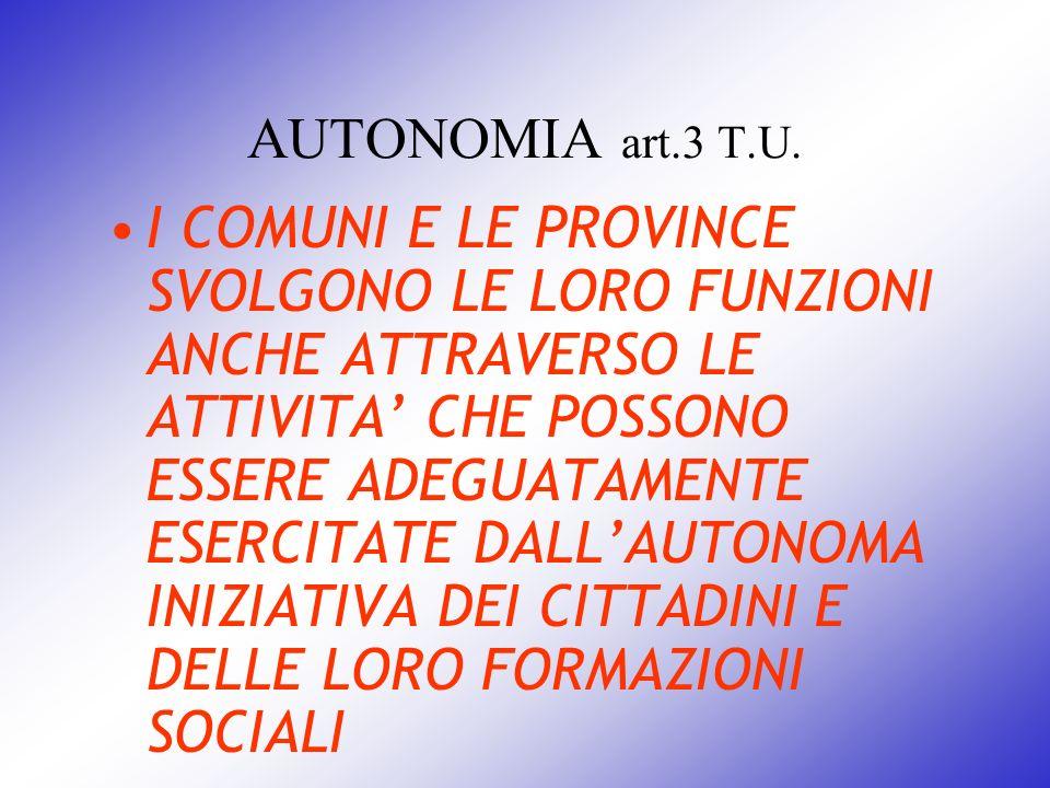 AUTONOMIA art.3 T.U. I COMUNI E LE PROVINCE SVOLGONO LE LORO FUNZIONI ANCHE ATTRAVERSO LE ATTIVITA CHE POSSONO ESSERE ADEGUATAMENTE ESERCITATE DALLAUT