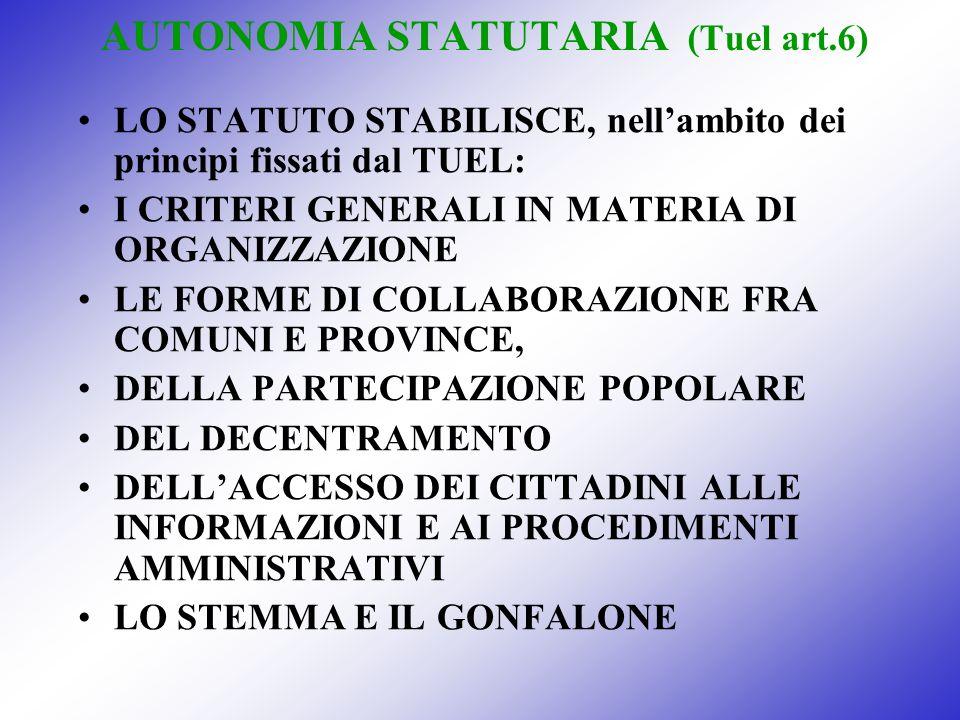 AUTONOMIA STATUTARIA (Tuel art.6) LO STATUTO STABILISCE, nellambito dei principi fissati dal TUEL: I CRITERI GENERALI IN MATERIA DI ORGANIZZAZIONE LE