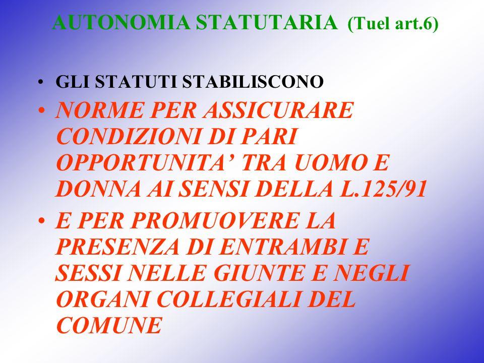 AUTONOMIA STATUTARIA (Tuel art.6) GLI STATUTI STABILISCONO NORME PER ASSICURARE CONDIZIONI DI PARI OPPORTUNITA TRA UOMO E DONNA AI SENSI DELLA L.125/9