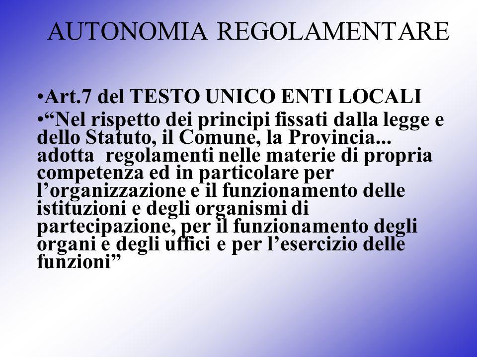 AUTONOMIA REGOLAMENTARE Art.7 del TESTO UNICO ENTI LOCALI Nel rispetto dei principi fissati dalla legge e dello Statuto, il Comune, la Provincia... ad