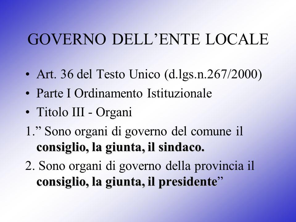 GOVERNO DELLENTE LOCALE Art. 36 del Testo Unico (d.lgs.n.267/2000) Parte I Ordinamento Istituzionale Titolo III - Organi consiglio, la giunta, il sind