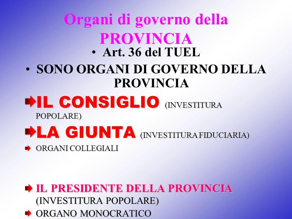 Organi di governo della PROVINCIA Art. 36 del TUEL SONO ORGANI DI GOVERNO DELLA PROVINCIA IL CONSIGLIO (INVESTITURA POPOLARE) LA GIUNTA (INVESTITURA F