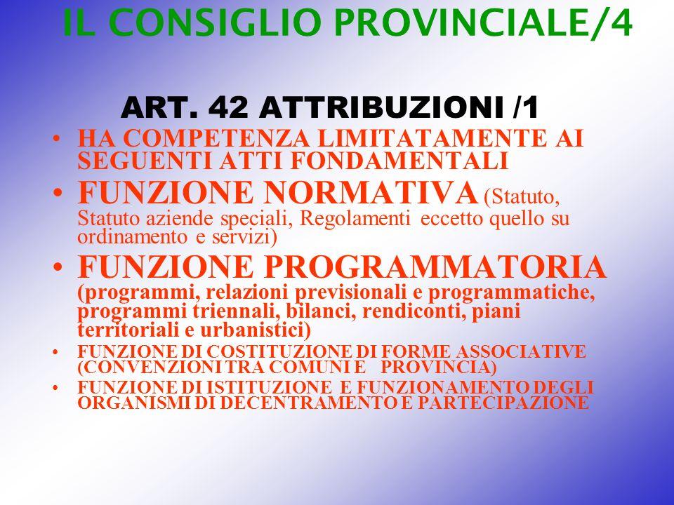 IL CONSIGLIO PROVINCIALE/4 ART. 42 ATTRIBUZIONI /1 HA COMPETENZA LIMITATAMENTE AI SEGUENTI ATTI FONDAMENTALI FUNZIONE NORMATIVA (Statuto, Statuto azie