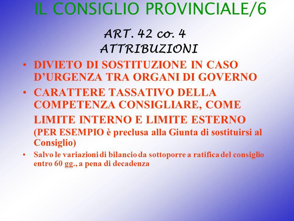 IL CONSIGLIO PROVINCIALE/6 ART. 42 co. 4 ATTRIBUZIONI DIVIETO DI SOSTITUZIONE IN CASO DURGENZA TRA ORGANI DI GOVERNO CARATTERE TASSATIVO DELLA COMPETE