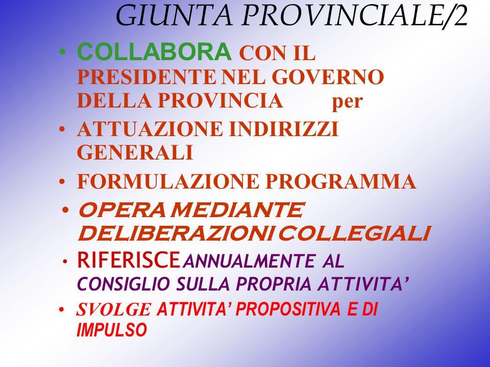 GIUNTA PROVINCIALE/2 COLLABORA CON IL PRESIDENTE NEL GOVERNO DELLA PROVINCIA per ATTUAZIONE INDIRIZZI GENERALI FORMULAZIONE PROGRAMMA OPERA MEDIANTE D
