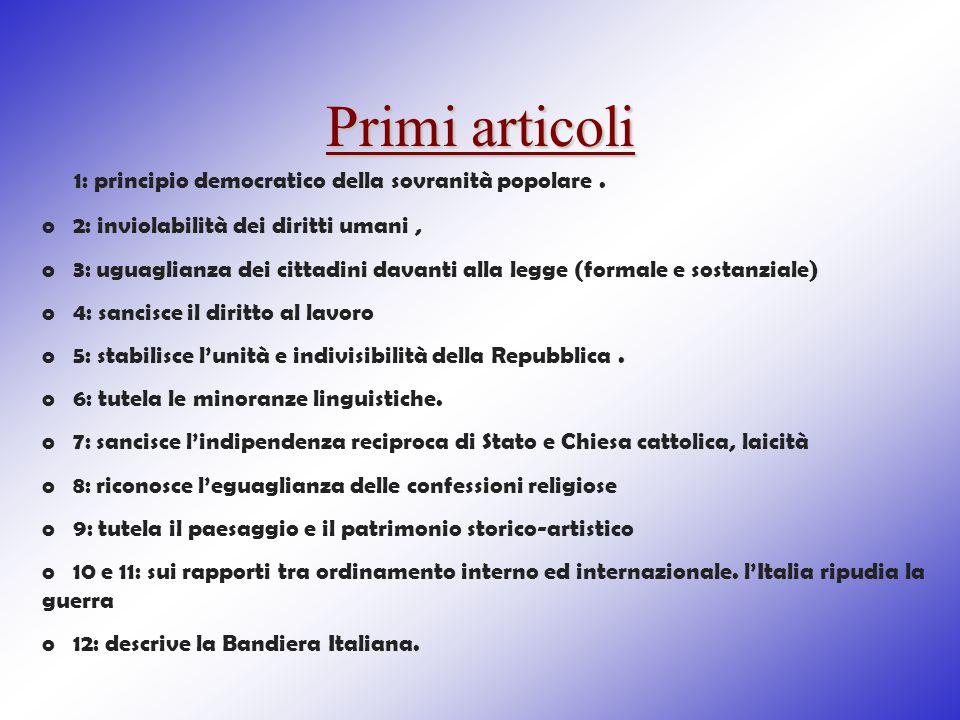 Primi articoli 1: principio democratico della sovranità popolare. o 2: inviolabilità dei diritti umani, o 3: uguaglianza dei cittadini davanti alla le
