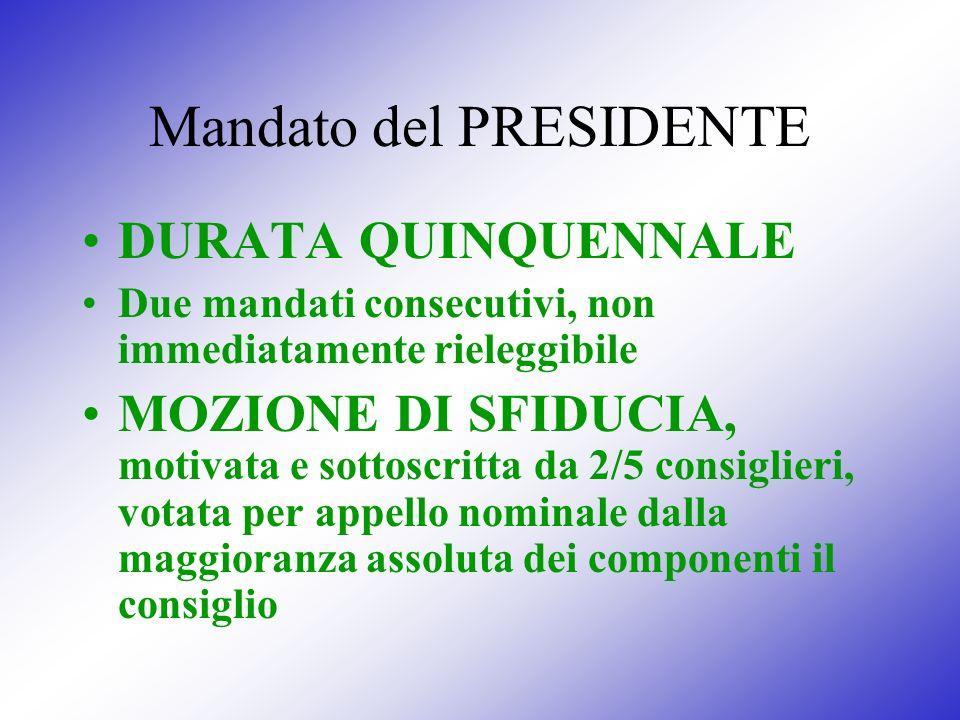 Mandato del PRESIDENTE DURATA QUINQUENNALE Due mandati consecutivi, non immediatamente rieleggibile MOZIONE DI SFIDUCIA, motivata e sottoscritta da 2/