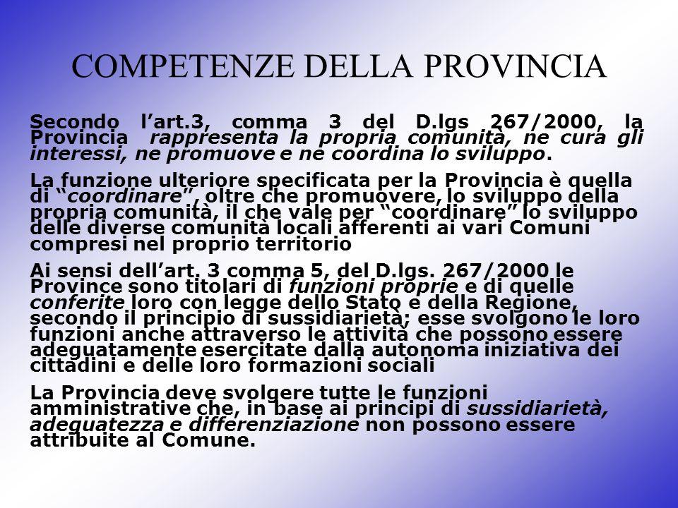 COMPETENZE DELLA PROVINCIA Secondo lart.3, comma 3 del D.lgs 267/2000, la Provincia rappresenta la propria comunità, ne cura gli interessi, ne promuov