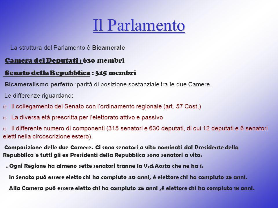 Il Parlamento La struttura del Parlamento è Bicamerale Camera dei Deputati : 630 membri Senato della Repubblica : 315 membri Bicameralismo perfetto :p