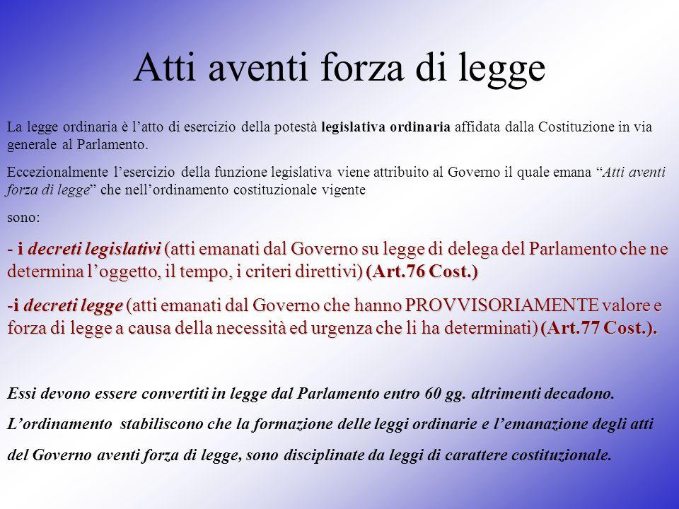 Atti aventi forza di legge La legge ordinaria è latto di esercizio della potestà legislativa ordinaria affidata dalla Costituzione in via generale al