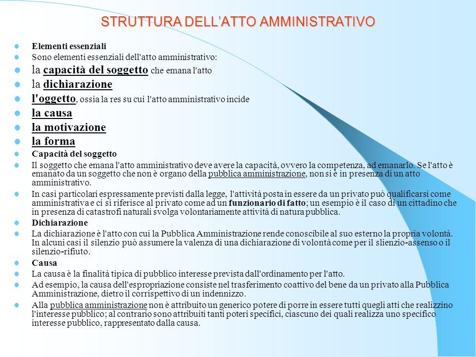 STRUTTURA DELLATTO AMMINISTRATIVO Motivazione La motivazione si collega sia alla dichiarazione che alla forma dell atto amministrativo.