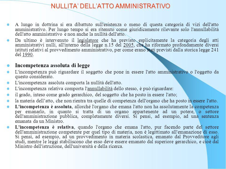 NULLITA DELLATTO AMMINISTRATIVO Effetti L atto amministrativo nullo è: inesistente; inefficace; insanabile.