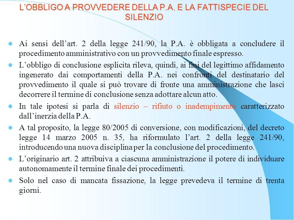 LOBBLIGO A PROVVEDERE DELLA P.A.