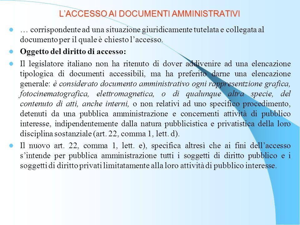 LACCESSO AI DOCUMENTI AMMINISTRATIVI Sono obbligati a consentire il diritto di accesso in base allart.