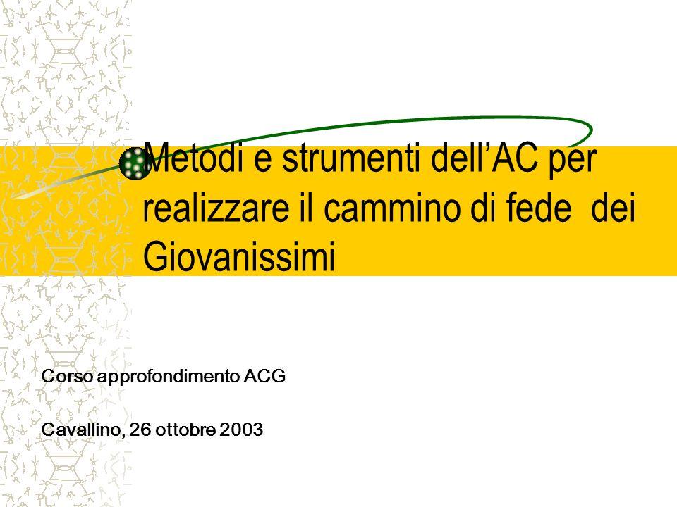 Metodi e strumenti dellAC per realizzare il cammino di fede dei Giovanissimi Corso approfondimento ACG Cavallino, 26 ottobre 2003