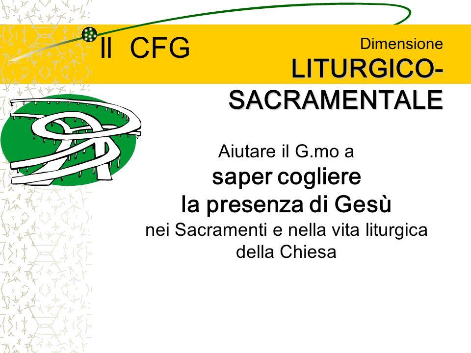 LITURGICO- SACRAMENTALE Dimensione LITURGICO- SACRAMENTALE Aiutare il G.mo a saper cogliere la presenza di Gesù nei Sacramenti e nella vita liturgica della Chiesa Il CFG