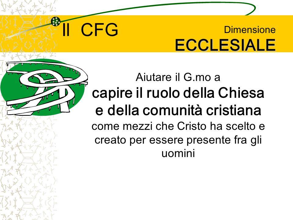 ECCLESIALE Dimensione ECCLESIALE Aiutare il G.mo a capire il ruolo della Chiesa e della comunità cristiana come mezzi che Cristo ha scelto e creato per essere presente fra gli uomini Il CFG