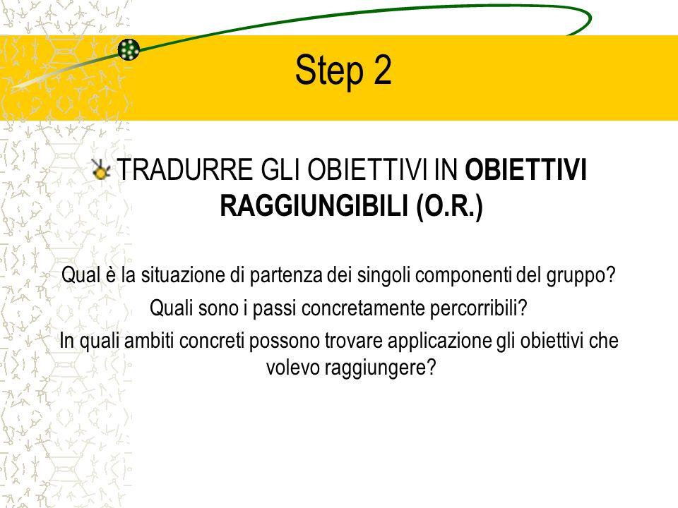 Step 2 TRADURRE GLI OBIETTIVI IN OBIETTIVI RAGGIUNGIBILI (O.R.) Qual è la situazione di partenza dei singoli componenti del gruppo? Quali sono i passi