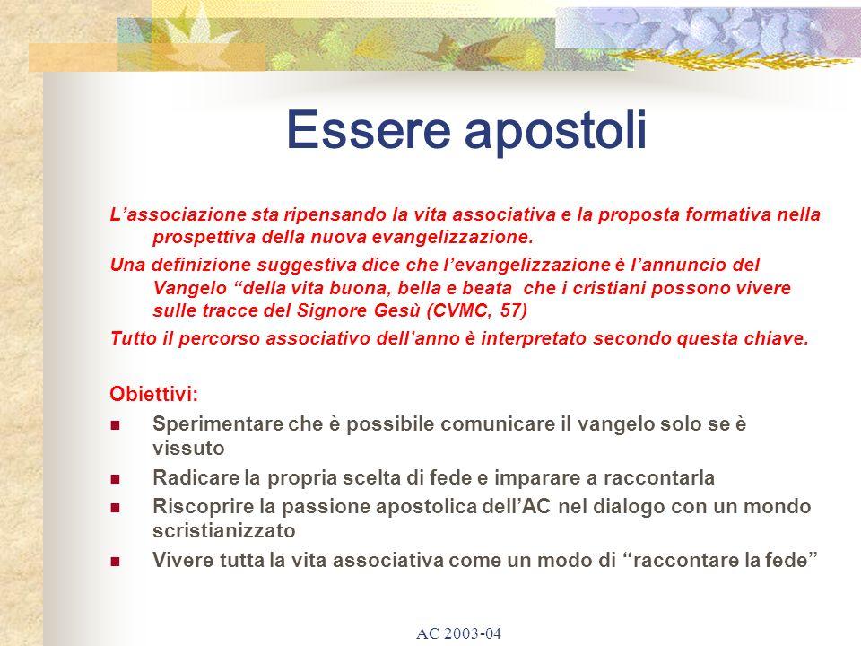 AC 2003-04 Essere apostoli Lassociazione sta ripensando la vita associativa e la proposta formativa nella prospettiva della nuova evangelizzazione.